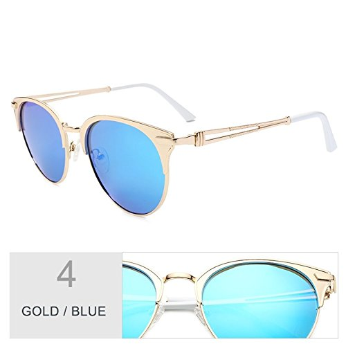 Gato de TL de gafas lente mujer Brown Atrás sol aleación mujer Gafas Blue Polaroid Ojo oro de de Sunglasses de UV400 Marco Gold de rqIqaf