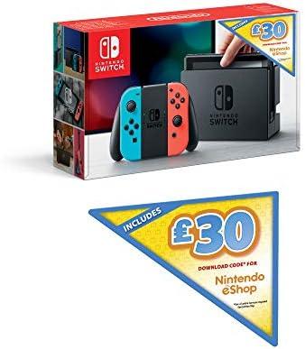 Nintendo Switch (Neon Red/Neon Blue) + £30 Nintendo eShop Voucher [Importación inglesa]: Amazon.es: Videojuegos