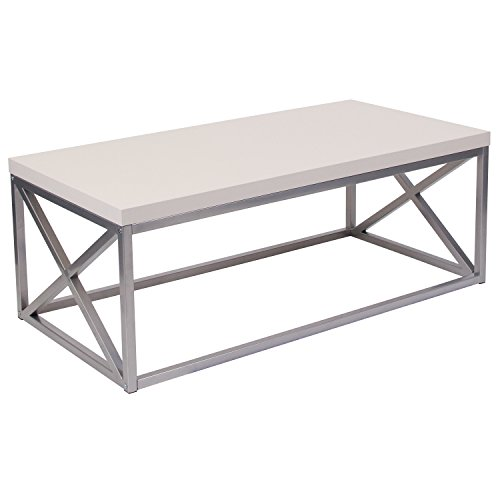 Flash Furniture Park Ridge Cream Coffee Table with Silver Finish Frame - (Cream Coffee And Oak Table)
