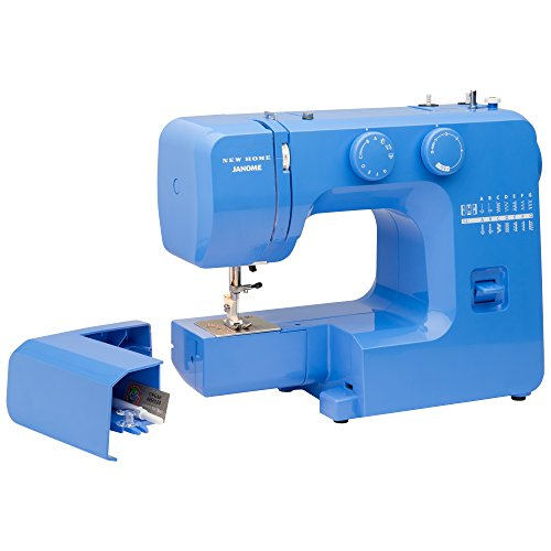 Janome Blue Couture Easy-to-Use Sewing Machine with Interior Metal Frame, Bobbin Diagram, Tutorial Videos, Made with Beginners in Mind!