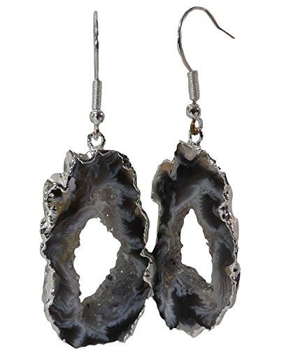Ring Stone Agate (Agate Earrings, Stone Geode Slice w/Center Druzy Crystals, 1-2