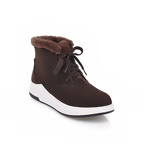 AN A&N Womens Boots Snow Boots Lace-Up Adjustable-Strap Heeled Waterproof Rubber Warm Lining Soft-Toe Suede Cushioning Suede Boots DKU01811 Brown yU2g8Xwl