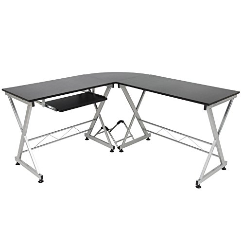 LTL Black Wood L-Shape Corner Computer Desk PC Laptop Workstation Table