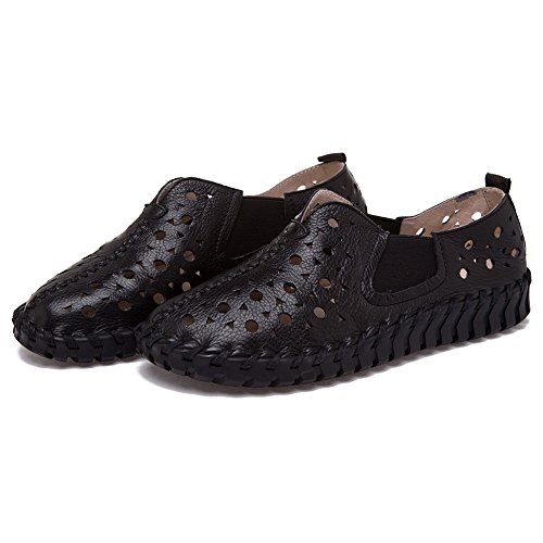 Shenn Mujer Ponerse Plano Casual Hermosa Hueco Cuero Zapatillas De Deporte Zapatos Negro