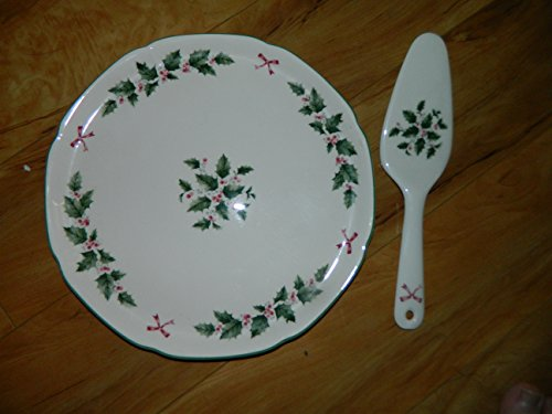 (Nikko FESTIVE HOLLY Cake plate with Server )