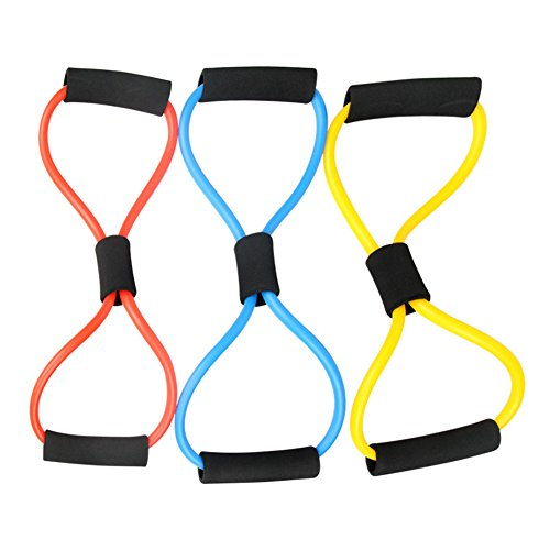 (Fitness Pull Exerciser Rope Arm Chest Strength Training Sponge Handle with 2 Resistance Band One Piece Radom Color Package of 1)