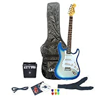 Starlight Blue Electric Guitar Package & Amp (extras includes DVD book, plectums case, cable and strap)