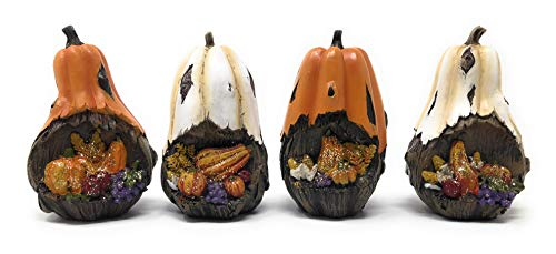 Hanna's Handiworks Set of 4 Tabletop Pumpkin Harvest Collection Cornucopia Design 4 x 2.5 Inches Each