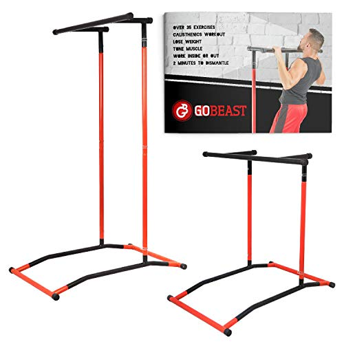 GoBeast Pull Up Bar Free Standing Dip Station - Portable Power Tower Home Gym Equipment With 3 Resistance Bands, Storage Bag And Downloadable Exercise Manual,  Red Black (Seated Dip Machine)