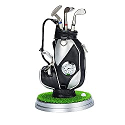 Office Desktop Clock Golf Club Pen Pencil Holder Container Bag with Ballpoints Home Decoration Toy,Black