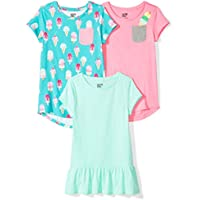 Spotted Zebra Girls' 3-Pack Short-Sleeve Tunic Tops