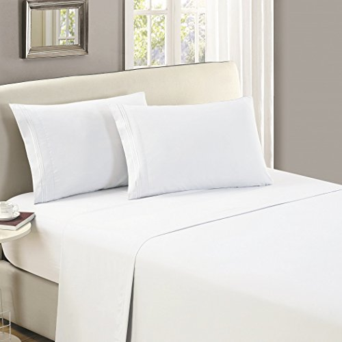 Mellanni Flat Sheet TwinXL White Brushed Microfiber 1800