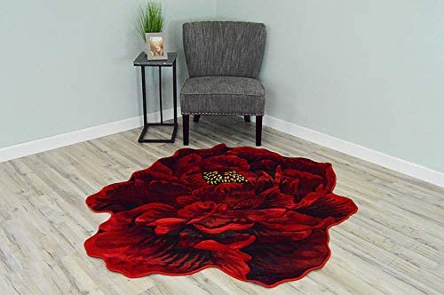 Flowers 3D Effect Hand Carved Thick Artistic Floral Flower Rose Botanical Shape Area Rug Design 302 Red 5'3''x5'3'' Round