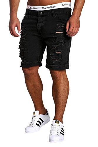 Minetom Men's Casual Knee Length Chino Pants Cargo Cowboy Water Wash Slim Fit Destroyed Jeans Denim Shorts with Holes Black US XL