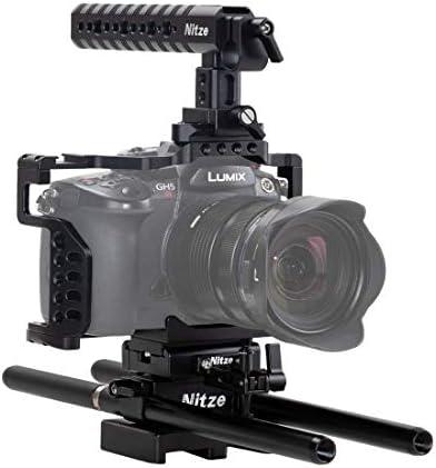 Nitze Panasonic Gh5/Gh5s カメラケージ Panasonic Lumix専用キットNATOトップハンドル、HDMIケーブルクランプ、15mm LWSロッドクランプおよびロッドのベースプレート付き - PTK01