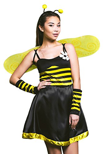 Adult Women Buzzing Queen Bumble Bee Costume Wasp Cosplay Role Play Busy Dress Up (Small/Medium, Black, Yellow, (Bumble Bee Outfits For Adults)