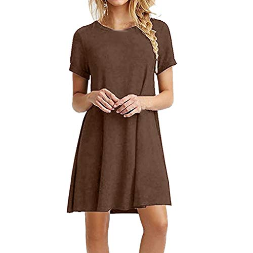 Sunhusing Womens Solid Color Round Neck Short-Sleeve Dress Loose Casual Swing Mini A Word Short Dress Coffee