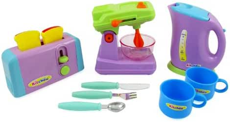 Liberty Imports Kitchen Appliances Toy for kids - Mixer, Toaster, Kettle, Cups & Utensils Set