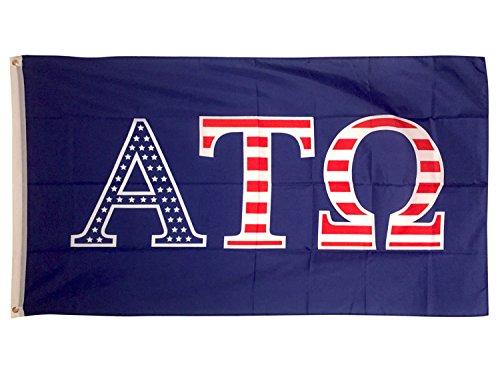 Alpha Tau Omega USA Letter Fraternity Flag Greek Letter Use as a Banner Large 3 x 5 Feet Sign Decor ATO (Merchandise Alpha)