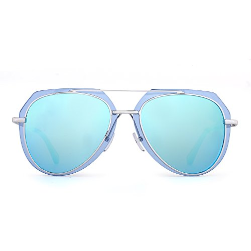 Designer Aviator Sunglasses Double Frame Mirror Metal Eyeglasses Men Women (Silver / Mirror - Less Rim Glasses