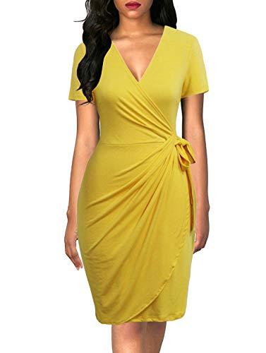 - Lyrur Women's Short Sleeves V Neck Drapped Knee Length Yellow Casual Wrap Dress for Women Work(S, 9069-Yellow)