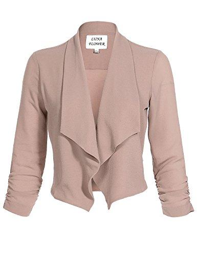 Drape Open Front Slim Fit Cinch 3/4 Sleeve Solid Color Short Cardigans Blazer Jackets