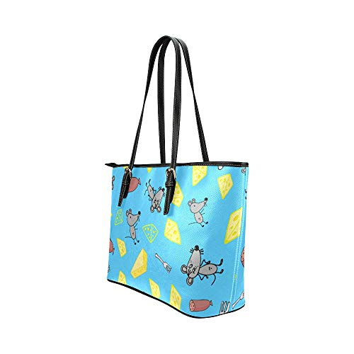 Crossbody axelväska tecknad söt intressant djur mus läder handväskor väska orsaksvisa handväskor dragkedja axel organiserare för damer flickor kvinnors resor axelväska väska