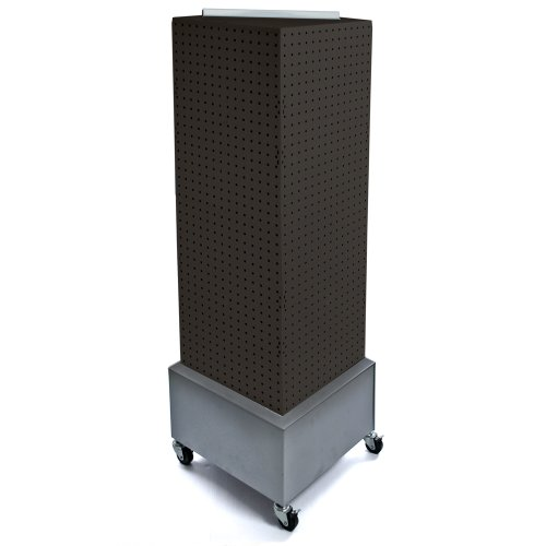 (Azar 701415-BLK Standard Four- Sided Interlocking Pegboard Floor Display, Black Solid)