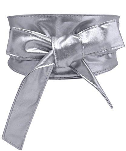 Ayliss Women's Corset Belt Lace up Wide Band Cinch Waist Belt,Silver