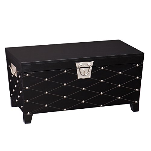 Southern Enterprises Nailhead Cocktail Table Storage Trunk, Black and Satin Silver Finish