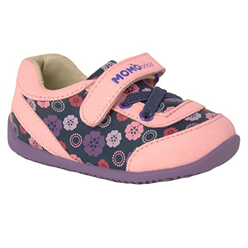Momo Baby Girls First Walker Toddler Heather Leather Sneaker Shoes - 4 Pink/Purple