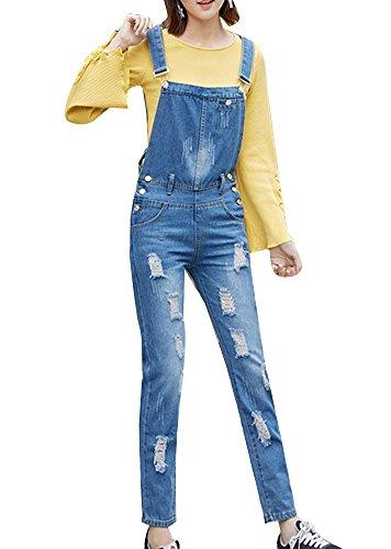 Petos Pantalones Vaqueros Elásticos Rasgados Jeans Vaqueros Azul Overalls Boyfriend Claro Rotos Mujer Denim dRvqwfdx