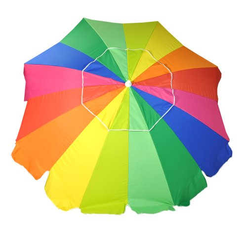 Rainbow 8′ Beach Umbrella with Carry Bag, Umbrella UPF 50+ with Tilt – Fiberglass Ribs, Outdoor Stuffs
