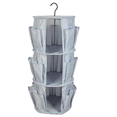eDealMax pared redonda del armario 3 compartimentos colgantes bolsa de almacenamiento Caja gris