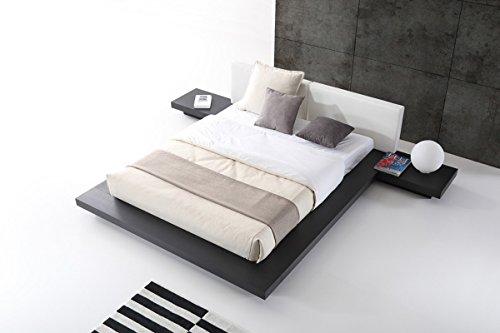 (VIG Furniture Modrest Opal Collection Modern Wenge Veneer Finished Platform Eastern King Bed with Leatherette Upholstered Headboard Cushions, Black&White)