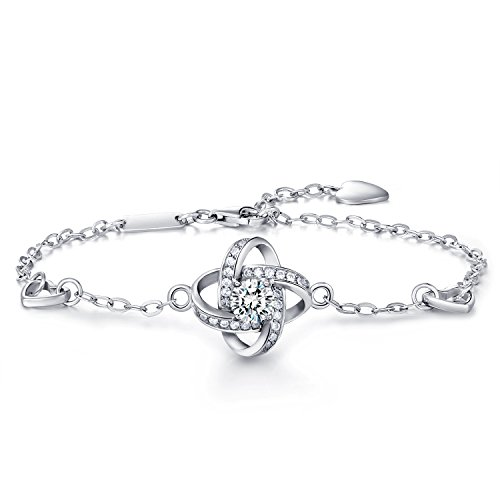 Women 925 Sterling Silver Bracelet -WM Four Leaf Clover