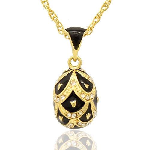 (MYD Jewelry Hand Enameled Pretty Russian Faberge Style Crystal Easter Egg Pendant Necklace)