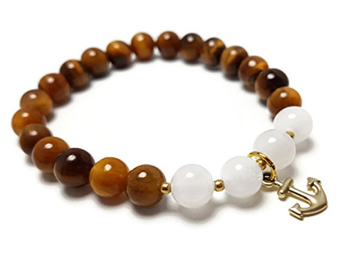 Gold Tone Tigers Eye Bracelet - APECTO 8 mm Natural Multicolor Stone Beads Charm Elastic Bracelet, Gold Tone Anchor (Tiger Eye), TGC3