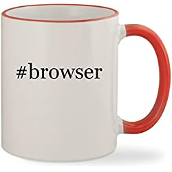 #browser - 11oz Hashtag Colored Rim & Handle Sturdy Ceramic Coffee Cup Mug, Red