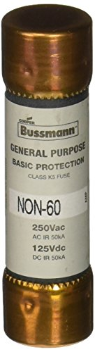 Bussmann NON-60 60 Amp One-Time Cartridge Fuse Non-Current Limiting Class K5, 250V UL Listed - Amp One Time Fuse