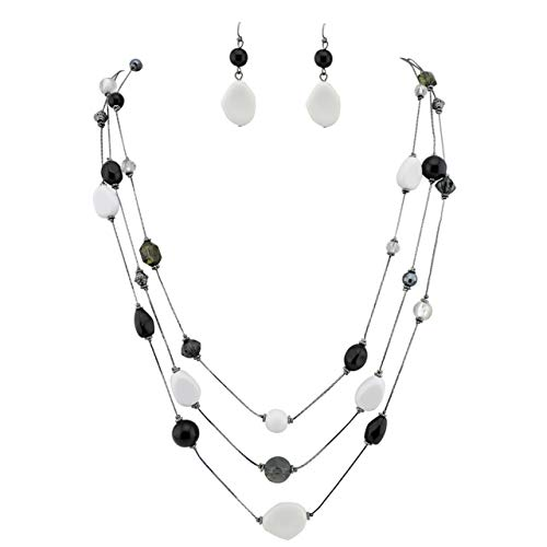 Beaded Illusion Necklace - COIRIS 3 Layers Illusion Wire Long Statement Necklace for Women Blue Green Beaded (N0008) (N0008-black+White)