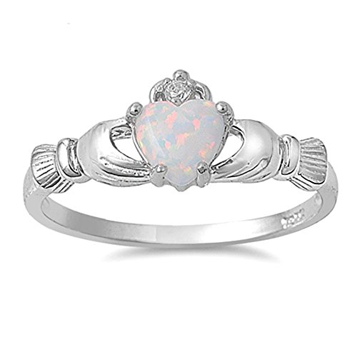 Irish Claddagh Lab Created White Opal Ring Sterling Silver Size 9 (Birthstone Opal Jewelry)