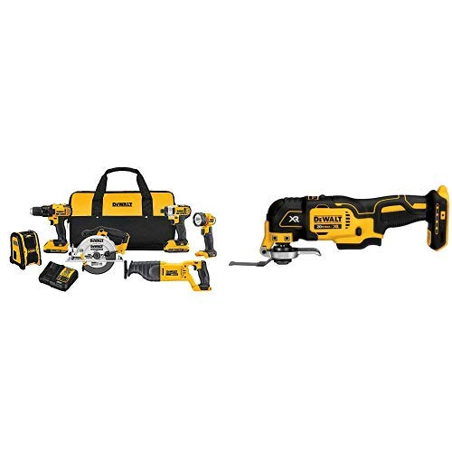 DEWALT DCK620D2 20V MA Compact 6-Tool Combo Kit with DCS355B 20V XR Oscillating Multi-Tool (Tool Only)