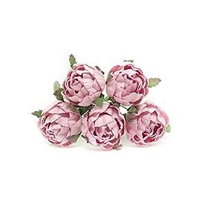 "1"" Savvi Jewels Pink Paper Flower Peonies Mulberry Paper Flowers Pink Paper Peonies DIY Wedding DIY Paper Bouquet Miniature Flowers Wedding Table Flowers Wedding Table Decor, 12 Pieces 18"