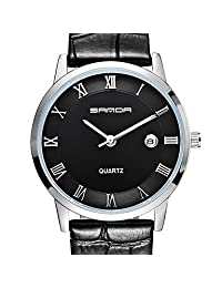 FENKOO SANDA 3 d Ultra-thin Dial, Seiko Quartz Movement, High Hardness, Mirror, Genuine Leather Strap Watch Business Led watch ( Color : Black-One Size )