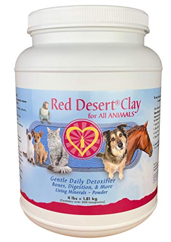 Red Desert Clay Pet Detoxification + Living Minerals, 4 lb Jar, Calcium Montmorillonite Powder for Dogs, Cats, Pets, Horses & Small Animals, Ideal for Occasional Diarrhea, Runny or Loose Stool
