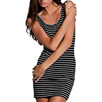 Betty Basics - Whitney Tank Dress (BB203 - Black, Black/White, Grey, White, White/Black)