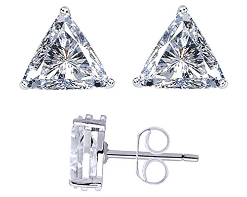 Trillion Cut Stud Earrings 14k White Gold Over Sterling Silver (Earrings Solid Trillion)