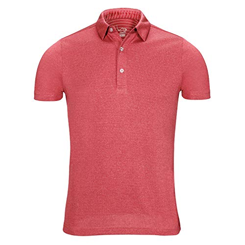 (EAGEGOF Regular Fit Men's Performance Polo Shirt Stretch Tech Golf Shirt Short Sleeve Red Heather)