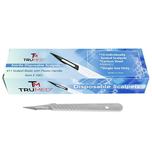 TruMed 1001 Disposable Scalpels with #11 High-Carbon Steel Blades, Plastic Handle, Sterile, Individually Foil Wrapped, Box of 10